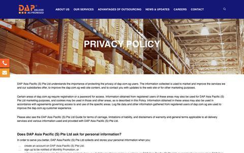 Screenshot of Privacy Page dap.com.sg - Privacy Policy   DAP Asia Pacific (S) Pte Ltd - captured Dec. 19, 2018