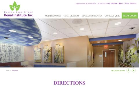 Screenshot of Maps & Directions Page qliri.org - Directions - Queens-Long Island Renal Institute, Inc. - captured Feb. 18, 2018