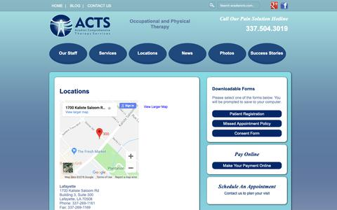Screenshot of Locations Page acadiancts.com - Locations - Lafayette - Delcambre - Broussard - Occupational Therapy - Physical Therapy – Occupational Therapy – Lafayette - captured Oct. 2, 2018