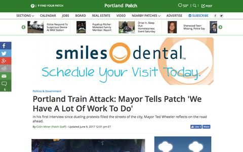 Screenshot of patch.com - Portland Train Attack: Mayor Tells Patch 'We Have A Lot Of Work To Do' - Portland, OR Patch - captured June 10, 2017