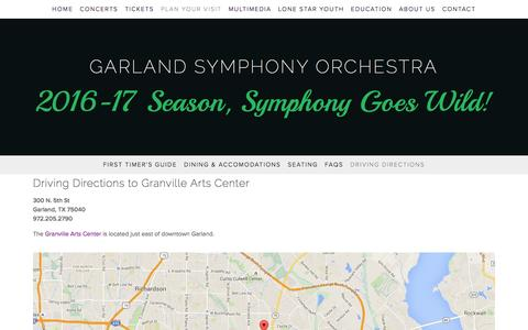 Screenshot of Maps & Directions Page garlandsymphony.org - Driving Directions — GARLAND SYMPHONY ORCHESTRA - captured July 11, 2016