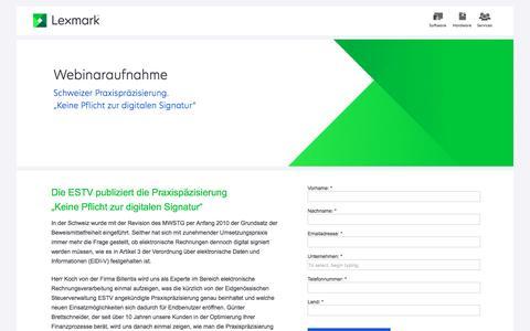 """Screenshot of Landing Page lexmark.com - Lexmark   Schweizer Praxispräzisierung.""""Keine Pflicht zur digitalen Signatur"""" - captured Feb. 27, 2017"""