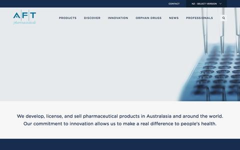 Screenshot of Home Page aftpharm.com - Home | AFT Pharmaceuticals - captured Feb. 4, 2016