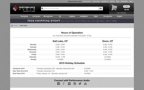 Screenshot of Hours Page performanceaudio.com - Store Hours | Performance Audio - captured Dec. 8, 2015