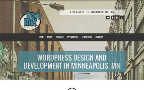 Screenshot of Home Page themightymo.com - Wordpress Design and Development in Minneapolis, MN - The Mighty Mo! Design Co. LLC - captured June 18, 2015