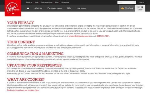 Screenshot of Privacy Page virginwines.co.uk - Privacy Policy | Virgin Wines - captured July 15, 2017