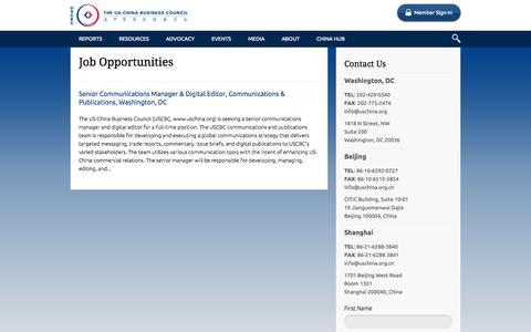 Screenshot of Jobs Page uschina.org - Job Opportunities | US China Business Council - captured Oct. 6, 2014