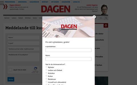 Screenshot of Support Page dagen.se - Kundtjänst - dagen.se - captured Sept. 28, 2018