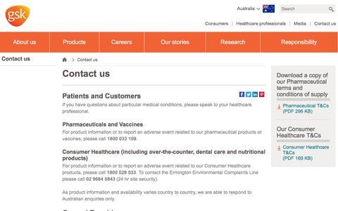 Screenshot of Contact Page gsk.com - Contact us | GSK Australia - captured Dec. 26, 2016