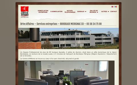 Screenshot of Home Page drive-affaires.fr - Location bureaux Bordeaux et services entreprise - Drive Affaires - captured Oct. 16, 2015