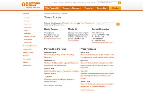 Screenshot of Press Page playworldsystems.com - Press Room | Playworld Systems®, Inc - captured Sept. 22, 2014