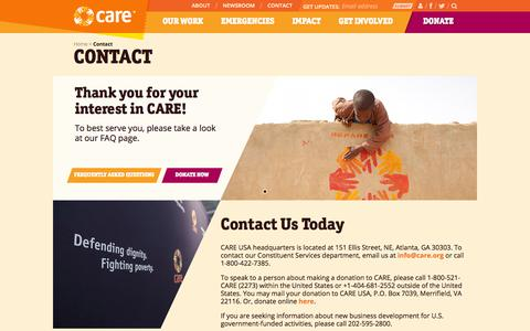 Screenshot of Contact Page care.org - Contact | CARE - captured Nov. 4, 2014