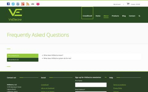 Screenshot of FAQ Page vitelectra.com - Frequently Asked Question | VitElectra, the super food cleanse system - captured Oct. 7, 2014