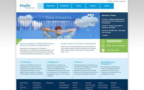 Screenshot of Home Page klopfer.com - Ihr zuverlässiger IT-Partner - klopfer datennetzwerk gmbh - captured June 27, 2018