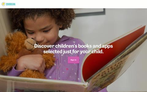 Screenshot of Home Page zoobean.com - Zoobean: Children's Book Club and App Recommendations - captured Jan. 30, 2016