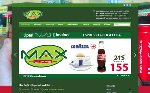 Screenshot of Home Page maxcaffe.com - Max Caffe Srbija | Novi Beograd – Vračar – Pančevo - captured Sept. 30, 2014