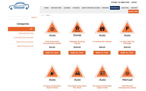 Screenshot of Products Page onroad.com.au - Products | Onroad Driving School - captured July 6, 2019