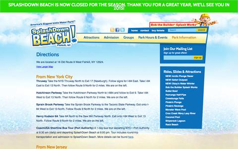 Screenshot of Maps & Directions Page splashdownbeach.com - Directions   SplashDown Beach Water Park - captured Sept. 25, 2014