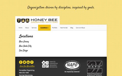 Screenshot of Locations Page honeybeeorganizing.com - Locations | HoneyBee Organizing - captured Oct. 3, 2014
