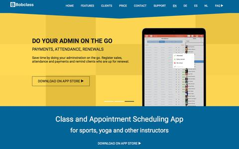Screenshot of Home Page bobclass.com - Bobclass - Class and Appointment Scheduling App - captured Aug. 2, 2018