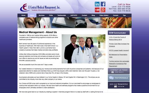 Screenshot of About Page ecmmgt.com - Top Rated Physician Office Management Solutions   E Central - captured Jan. 22, 2016
