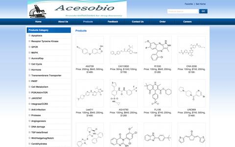 Screenshot of Products Page acesobio.com - Products - Aurora/Ksp,Apoptosis,GPCR,Hormone,Ion channel,PARP,Kinase, PI3K/Akt/mTOR,PI3K/Akt/mTOR - captured Feb. 5, 2016