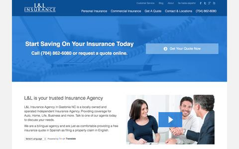 Screenshot of Home Page quotetosave.com - L&L Insurance Agency   Auto, Home, Business - captured Oct. 10, 2016