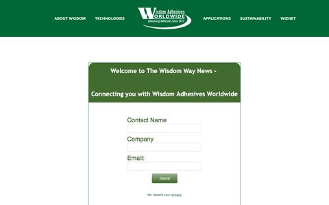 Screenshot of Signup Page wisdomadhesives.com - Newsletter — Wisdom Adhesives - captured Dec. 22, 2016