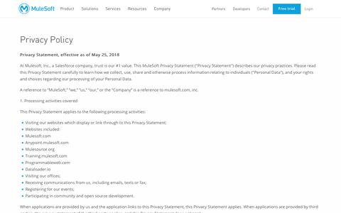 Screenshot of Privacy Page mulesoft.com - Privacy Policy   Mulesoft - captured May 25, 2018