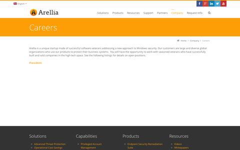 Screenshot of Jobs Page arellia.com - Careers - Arellia - captured Sept. 30, 2014