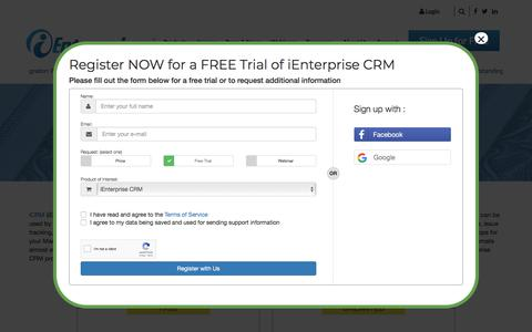 Screenshot of Pricing Page ienterprises.com - iEnterprises - CRM Pricing and Features-Small Business - captured Sept. 20, 2018