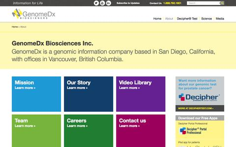 Screenshot of About Page genomedx.com - About GenomeDx Biosciences Inc. - captured Oct. 2, 2014