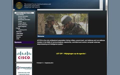 Screenshot of Home Page afcea.nl - AFCEA NEDERLAND - captured Oct. 4, 2014
