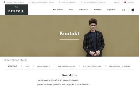 Screenshot of Support Page bertoni.com - Bertoni of Denmark | Kontakt os - captured Nov. 13, 2018