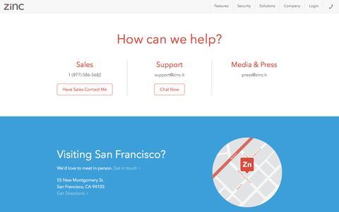 Screenshot of Contact Page zinc.it - Contact Us - Zinc - captured June 9, 2016