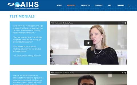 Screenshot of Testimonials Page aihs.ca - AIHS   –  Testimonials - captured Nov. 2, 2014