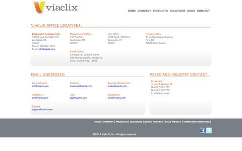 Screenshot of Contact Page viaclix.com - .: ViaCLIX :. - captured Sept. 17, 2014