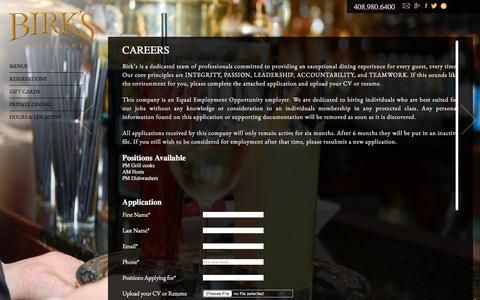 Screenshot of Jobs Page birksrestaurant.com - Careers at Birk's | Santa Clara Restaurant Jobs - captured Aug. 2, 2018