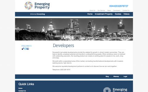 Screenshot of Developers Page emergingproperty.co.uk - Developers for Emerging Property - captured Sept. 19, 2014