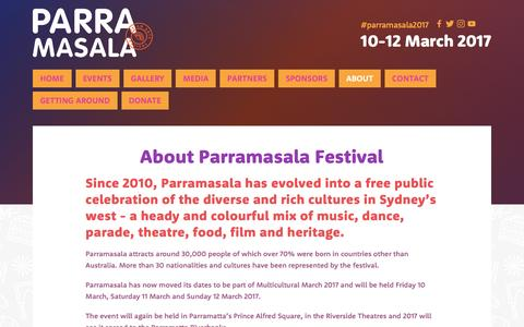Screenshot of About Page parramasala.com - About — Parramasala - captured May 14, 2017