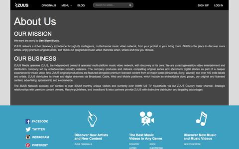 Screenshot of About Page zuus.com - ZUUS | About Us - captured Feb. 21, 2016