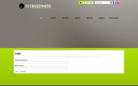 Screenshot of Login Page beebuzziness.com - Ouverture de session / Utilisateur - BEEBUZZINESS - captured Sept. 24, 2014
