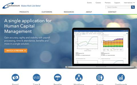 Screenshot of Products Page ceridian.com - Human Capital Management and HCM Software Solutions - captured Jan. 6, 2017