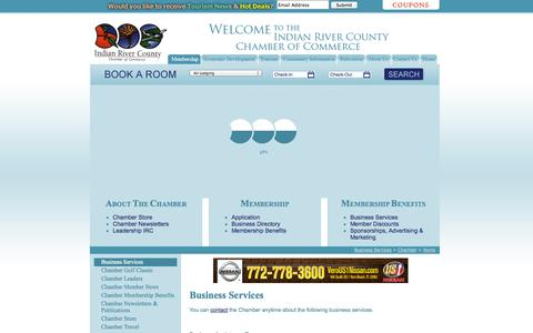 Screenshot of Services Page indianriverchamber.com - Vero Beach, FL - Chamber of Commerce - Indian River County, Vero Beach Florida - captured Oct. 6, 2014