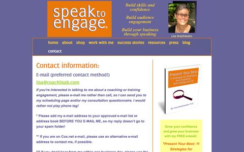 Screenshot of Contact Page coachlisab.com - Public Speaking Coach Lisa Braithwaite | Contact | Newsletter - captured Jan. 30, 2016