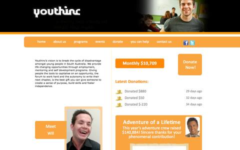 Screenshot of Home Page youthinc.org.au - Youthinc - captured Oct. 1, 2014