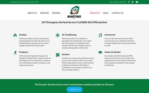 Screenshot of Products Page martinohvac.com - Products - Martino HVAC - captured Nov. 27, 2016