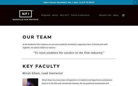 Screenshot of Team Page nfi.edu - Our Team — Nashville Film Institute - captured Nov. 22, 2017
