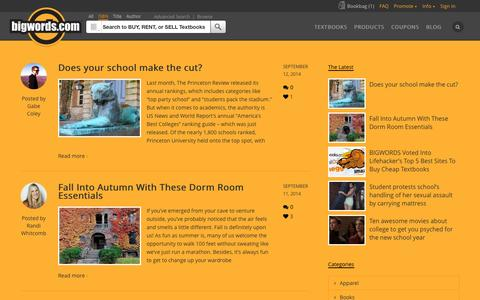 Screenshot of Blog bigwords.com - Blog | Textbook Case | Bigwords.com - captured Sept. 12, 2014