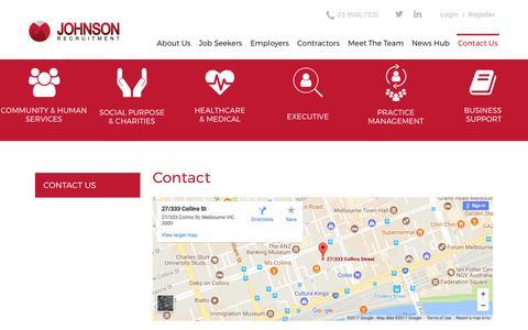 Screenshot of Contact Page johnsonrecruitment.com.au - Contact Us Johnson Recruitment - captured Oct. 16, 2017